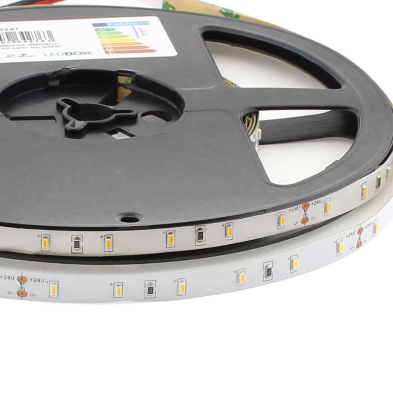 Tira LED SMD3014, DC24V, 5m (60 Led/m) - IP68 nano waterpoof, Blanco cálido